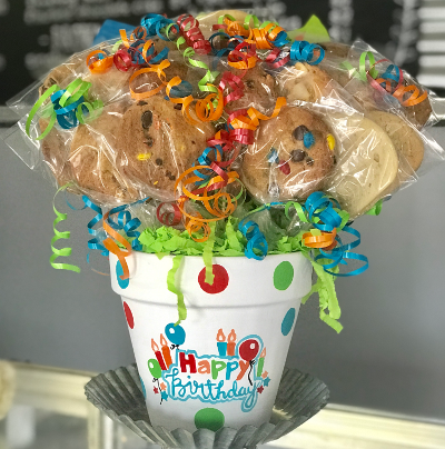 Birthday Candle Pot Cookie Bouquet by Kookie Krums