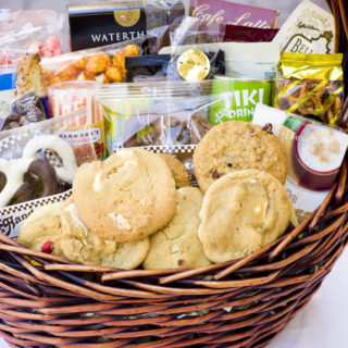 Gourmet Holiday Basket filled with cookies and treats