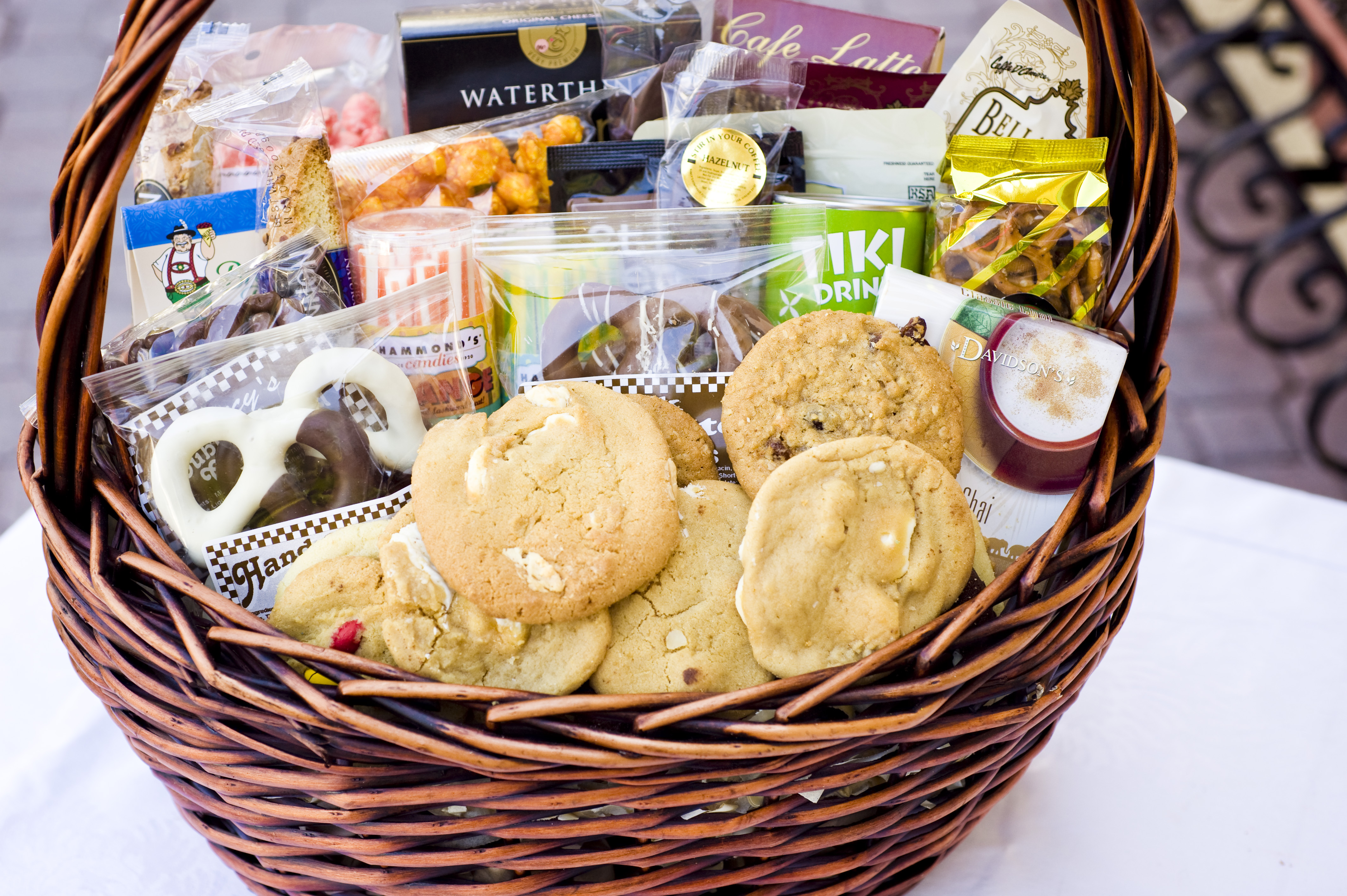 Gourmet Holiday Basket filled with cookies and treats 143fe8cff917