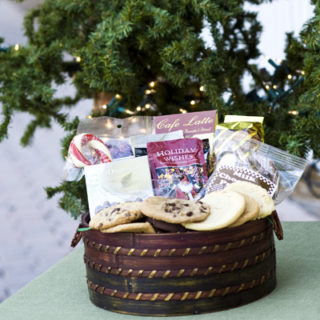 Holiday Basket filled with cookies and treats