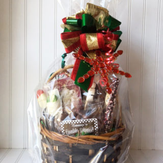 Holiday basket filled with a variety of goodies