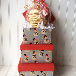 Holiday Snowman Hat Box filled with cookies