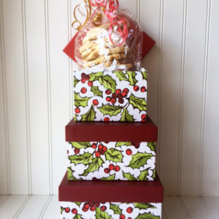 Holiday Holly Hat Box filled with cookies
