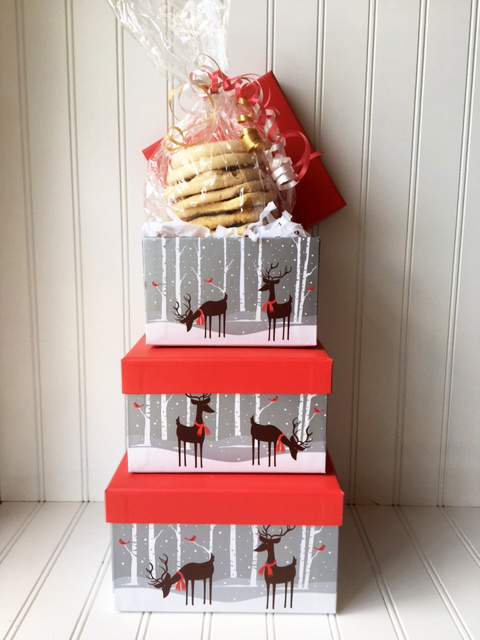 Holiday Reindeer Hat Box filled with cookies
