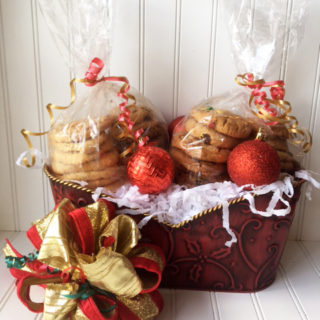 Red & Gold Tub Tin filled with 3 dozen cookies and two ornaments