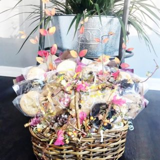 Fall Basket Bouquet filled with cookies.