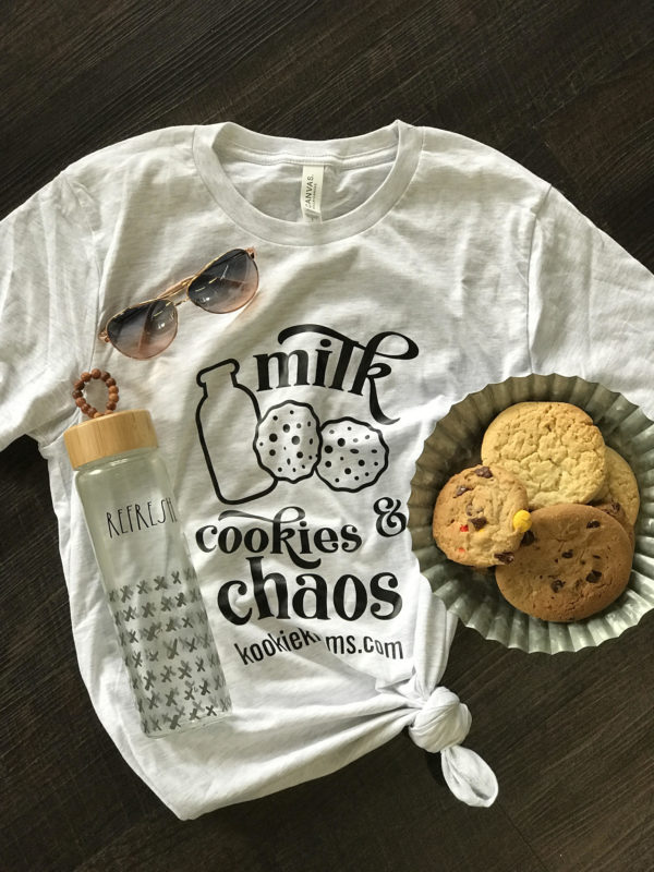 Milk, Cookies and Chaos T-Shirt by Kookie Krums